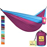 Hammock By Wise Owl Outfitters Single & Double Camping Hammocks - Top Rated Best Quality Gear For The Outdoors Backpacking Survival or Travel - Portable Lightweight Parachute Nylon DO Fuchsia Sky Blue