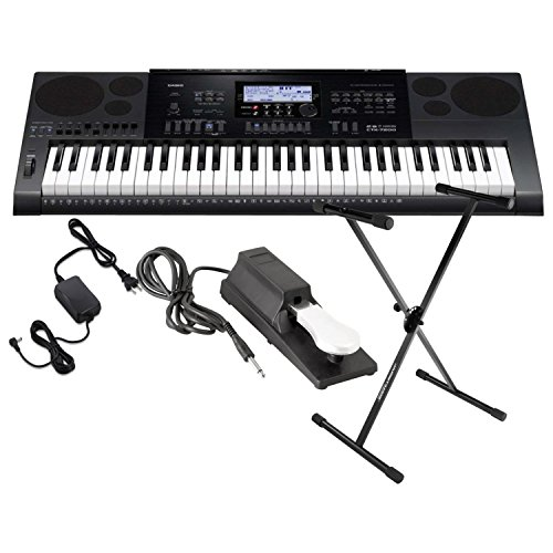 CASIO CTK 7200 61 Key Portable Keyboard w/Power Supply, Sustain Pedal, and Stand by Casio