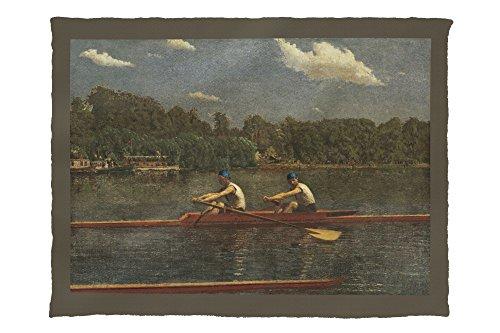 The Biglin Brothers Racing (Artist: Thomas Eakins) c. 1872 - Masterpiece Classic 66194 (60x80 Poly Fleece Thick Plush Blanket)