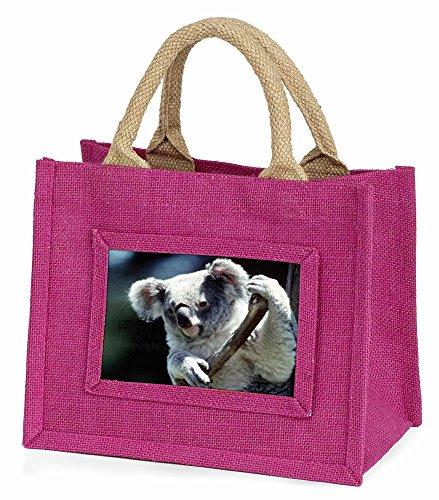 Advanta–Mini Pink Jute Tasche Cute Koala Bear Little Girls kleinen Einkaufstasche Weihnachten Geschenk, Jute, pink, 25,5x 21x 2cm