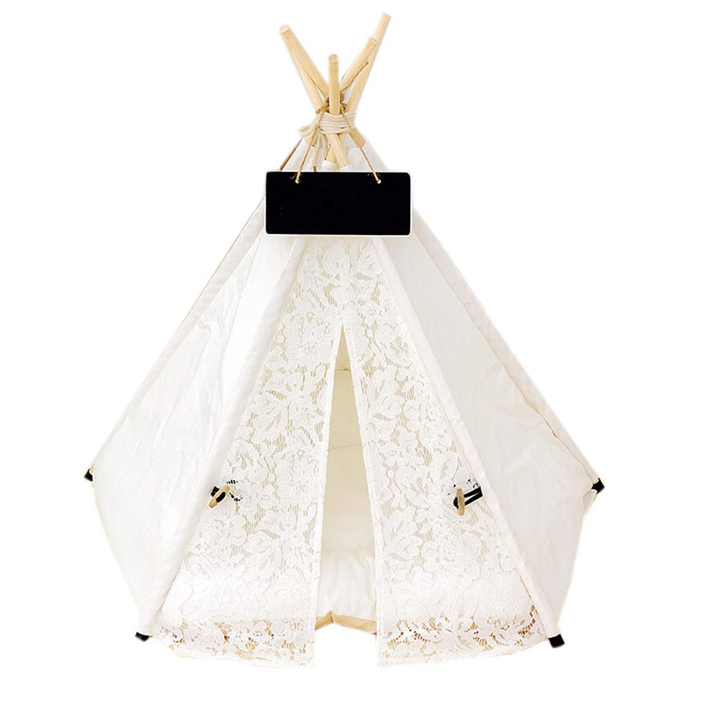 1  Medium 1  Medium Detachable Pet Tent, Canvas Wooden Medium And Small Cats And Dogs, White Comfortable Pet Room 27.5 Inches Long, Pet Mat (color   1 , Size   M)