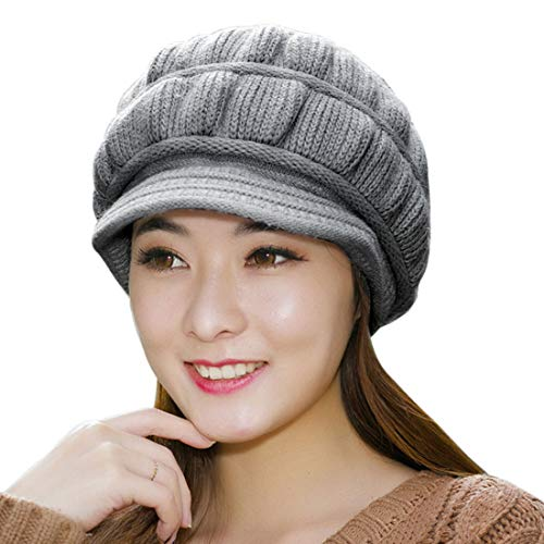 Muryobao Winter Hat Crochet Knit Slouchy Beanie Cap Outdoor Warm Snow Ski Knitted Hats with Visor for Women ()