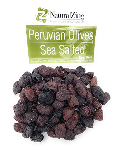 NaturalZing Organic Raw Peruvian Black Dried Pitted Premium Olives Cured 8 Ounce Bag