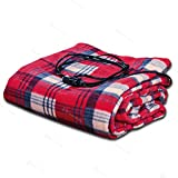 electric auto blanket - Zento Deals 12V Electric Blanket -Red Plaid Premium Quality Blanket for Cold Days and Nights Road Trip, Home and Camping Comfy Protector