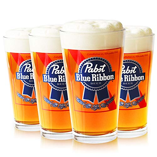 (Pabst Blue Ribbon Beer Glasses, Set of 4)