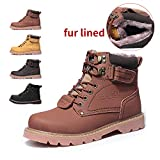 ENLEN&BENNA WomenMen's Work Boots Safety Boots Composite Toe Waterproof Tan Casual Motorcycle Boot Winter Snow Boots