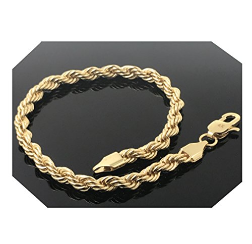(Gold Filled 24kt Diamond cut Rope Chain Bracelets 5MM With A USA Made! (9))