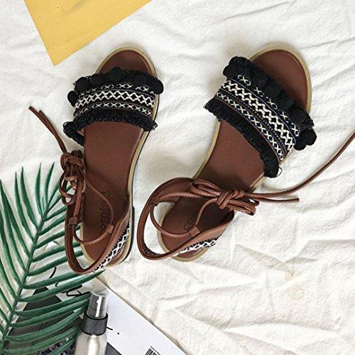 Tefamore Summer Ladies Women Sandals Flower Cross Strap Flat Roman Sandals BLQJee