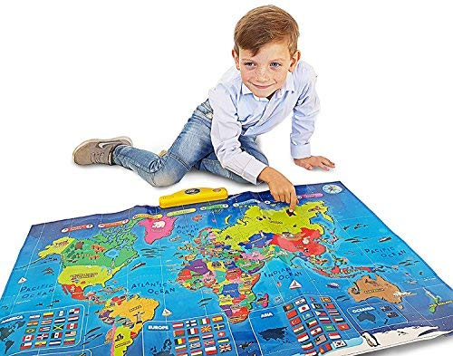 Interactive Talking World Map for Kids TG661 - Push, Learn and Discover Over 1000 Facts About Our World – Ideal Interactive Learning Toy Gift for Boys & Girls Aged 5,6,7,8,9,10 - by ThinkGizmos ()