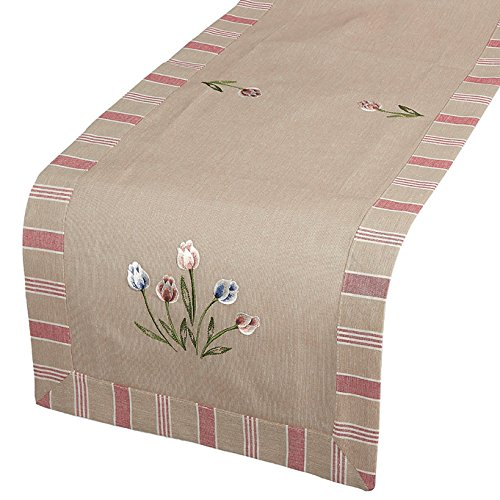- Juvale Table Runner - Cotton Dresser Scarf with Floral Embroidery, Great as Coffee Table Runner, Dining Table Runner, or Kitchen Table Runner, Tulip, 70.5 x 18 Inches