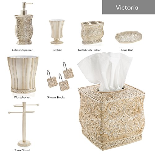 "Creative Scents Victoria Bathroom Trash Can (8.5"" x 8.5"" x 9.25"") –Decorative Wastebasket- Durable Resin Waste Paper Baskets- Space Friendly Bath Rubbish Dust Bin- For Elegant Shower Decor"