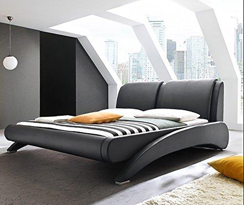 Doppelbett Polsterbett Bettgestell Bett Lattenrost Kunstleder (Schwarz, 140x200cm)