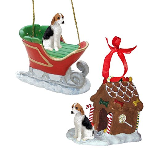 American Foxhound Christmas Ornament - American Fox Hound Figurine Christmas Ornaments