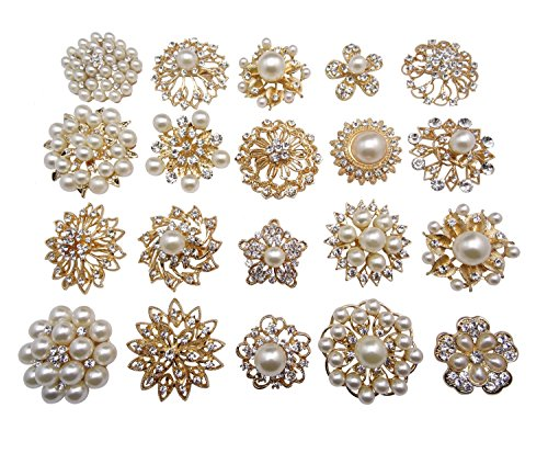 Pearl Womens Brooch - L'vow Gold Crystal Pearl Brooches Brooch Pins Wedding Corsage Bouquet Kit Pack of 12
