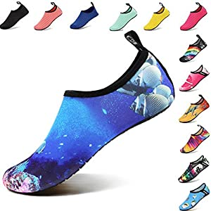 VIFUUR Water Sports Shoes Barefoot Quick-Dry Aqua Yoga Socks Slip-On Men Women Kids Coral Fish-40-41