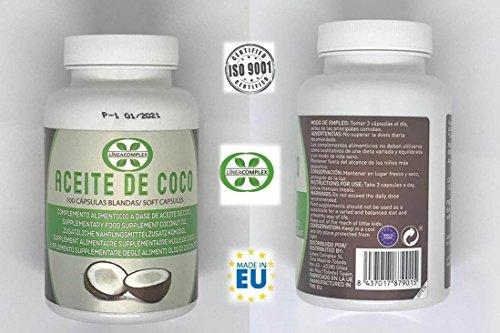 Capsulas de aceite de coco ayuda a reducir el hambre y la ansiedad por comer – aceite de coco para lucir tu piel, pelo y unas fuertes y sano – 100 capsulas de aceite de coco LINEA COMPLEX