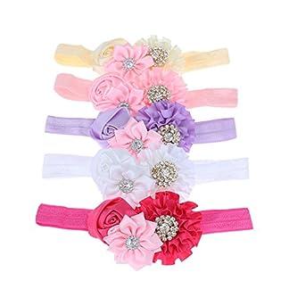 BESTVECH Detachable Elastic Rhinestone Flower Headband Hair Accessory for Baby Girl's -5 Pieces 51aRdyNt9yL