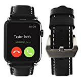 For Apple Watch Band, top4cus Genuine Leather iwatch Strap Replacement Band with Stainless Metal Clasp for Apple Watch Series 3 Series 2 Series 1 Sport and Edition (Unique buckle - Black, 42mm)