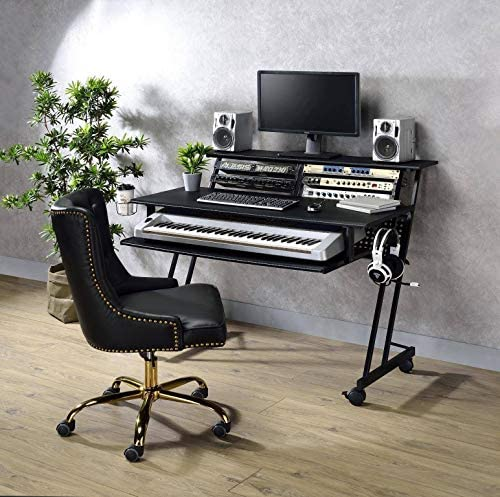 Q-Max 37″ Tall Comtemporary Style Computer Desk In Black