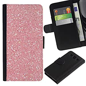 KingStore / Leather Etui en cuir / Samsung Galaxy S3 III I9300 / Rosa Nieve Sparkling White Diamond;