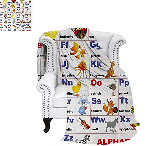 - Oversized Travel Throw Cover Blanket Animals Placed on Letter of The Alphabet Teachers Chart Classroom Kindergarten Super Soft Lightweight Blanket 80