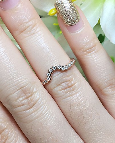 Amazon Com Curved Diamond Matching Ring Nesting U Shaped Round