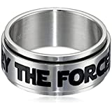 Star Wars Jewelry Men's May The Force Be with You Stainless Steel Spinner Ring, Size 9