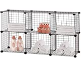 6 Wire Cube Storage Organizer Set with 26 Plastic Connectors - Black Wire and Connectors - Each Cube Size 14'' x 14'', 14.8'' L x 44.5'' W x 30.5'' H (Assembled Size)