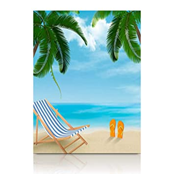 11c775f58ec2e YeaSHARK Painting Canvas Wall Art Print Beach Palm Trees Chair Summer  Nature Flip Flops Tree Stretched