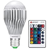 Tools & Hardware : Warmoon E26 LED Light Bulb, 10W RGB Color Changing Dimmable LED Light Bulbs with Remote Control [Fits E26 and E27]