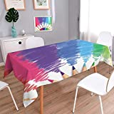 Tablecloth Waterproof Cotton Linen Table Realistic of Colorful Colored Pencils or Crayons with Multicolored Brush Strokes inBack to School Regular Home Use, Machine Washable/W23 x L23 Inch