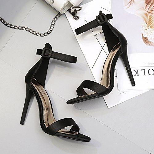 À Fine Chaussures Haut Shoeshaoge Unie De Usage 10cm Princesse Couleur Boucle Talon Sandales Nuit azcaq4O