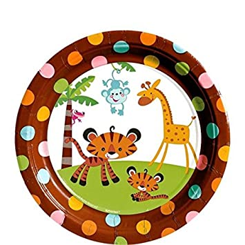 Fisher Price 7u0026quot; Dessert Plates Baby Shower Monkey Jungle Party  Supplies ...