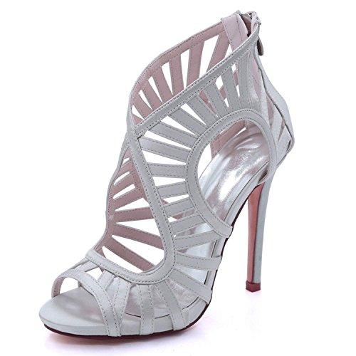 8 3 Heel YC Reißverschluss Hochzeit 03 Schuhe Frauen Zehe Court 7216 High Silver Offene L Sandalen Mehrfarben Prom OqFBww6