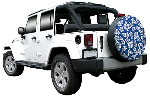 35'' Rigid Tire Cover (Plastic Face & Vinyl Band) - Hawaiian Print - Blue by Boomerang (Image #3)