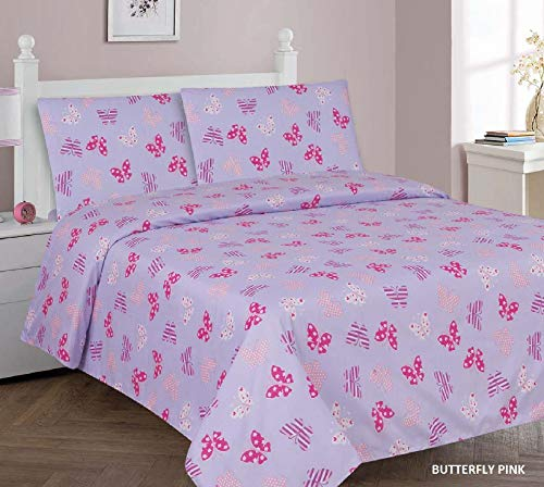 Sapphire Home 4 Piece Kids Girls Full Sheet Set w/Fitted, Flat & 2 Pillow Cases, Fun Print, Butterfly Print Lavender, Pink Color, Butterfly Pink Lavender Full Sheet