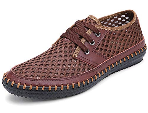 Mohem Men's Poseidon Mesh Walking Shoes Casual Water Shoes, Brown66, 13 D(M) US