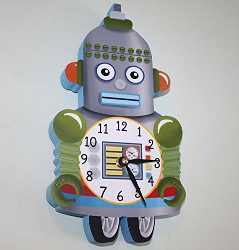I...am...a...Robot Wooden WALL CLOCK for Boys Bedroom Baby Nursery WC0056