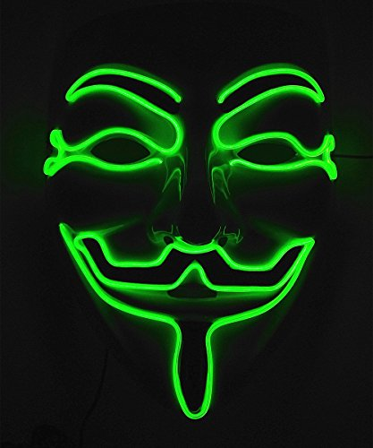 [Cage-YYL Frightening Wire Halloween Cosplay LED Light up Mask for Festival Parties (V for Vendetta, Green)] (Anonymous Mask Costume)
