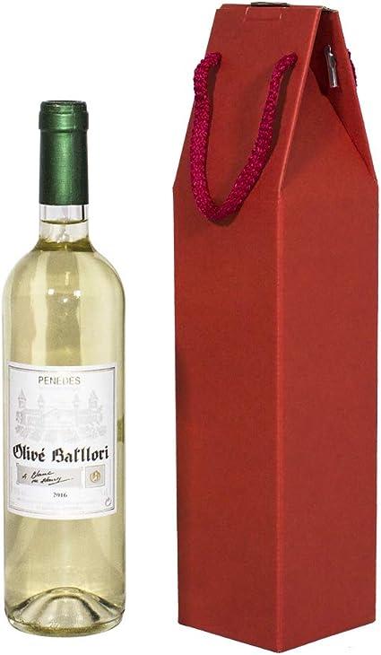 Kartox | Estuche 1 Botella De Vino Con Asa | Caja Expositora de Cartón para Vino | 10 Unidades | Color Rojo: Amazon.es: Oficina y papelería