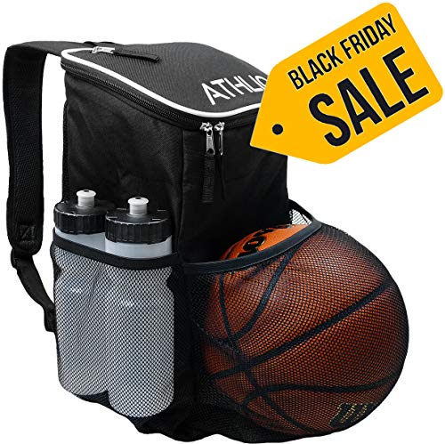 ATHLIO Gym Bag Backpack - External Ball & Equipment Pocket | for Sports, Workout & Travel Gear | XL Capacity | Waterproof Heavy-Duty(Black)
