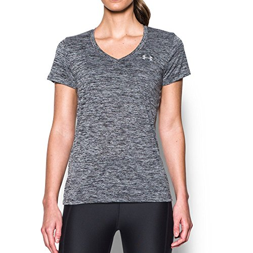 Under Armour womens Tech V-Neck Twist Short Sleeve T-Shirt, Black (001)/Metallic Silver, Large
