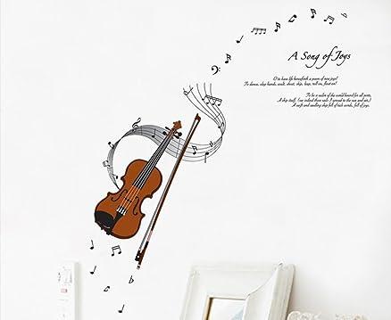 ufengke® Serie Moda Musica di Violino e Note Musicali Adesivi ...