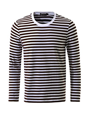 [Allegra K Men Crew Neck Long Sleeves Striped T-shirt Large Coffee+White] (French Costume)