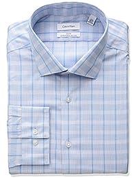 Men's Non Iron Slim Fit Large Plaid Spead Collar Dress Shirt