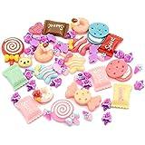 Pandahall 50pcs Mixed Color Candy & Cake Resin Cabochons Food Flat Back DIY Nail Decoration Cell Phone Ring Necklace Ring Pad Base Making