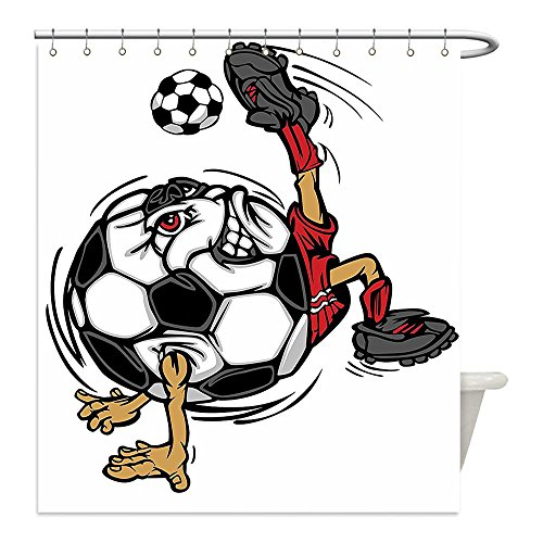 [Liguo88 Custom Waterproof Bathroom Shower Curtain Polyester Sports Decor Collection Soccer Football Player Cartoon Character Kicking Playing Exercising Theme Decorative bathroom] (Diy Cartoon Character Costume Ideas)