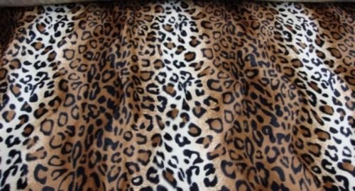Upholstery Faux fur Leopard Brown and White fabric 58