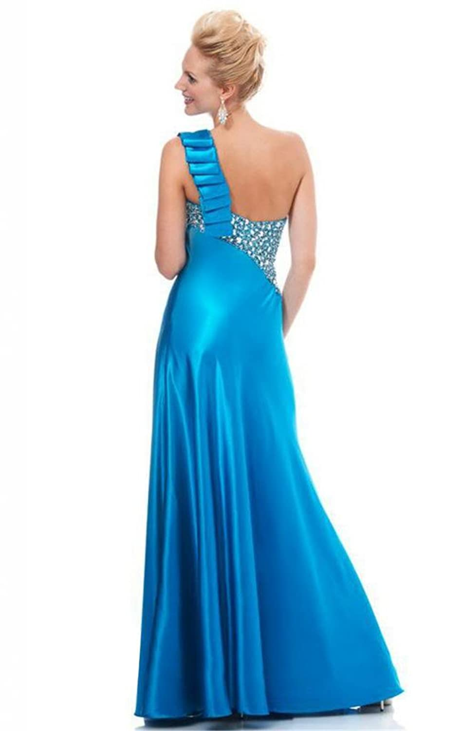 Passat Satin Turquoise Dress High Low Prom Dress at Amazon Womens Clothing store: