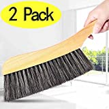 upholstery brush soft - Soft Cleaning Brush -2PCS Wood Handle Hotel Family Clothes Dust Hair Sofa Bed Sheets Bedspread Carpet Cleaning Natural Bristle Brush Wooden Large for Home Office and Car Set of 2